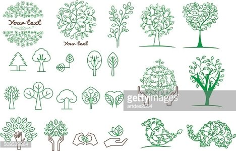 collection of green tree ,logos and icons