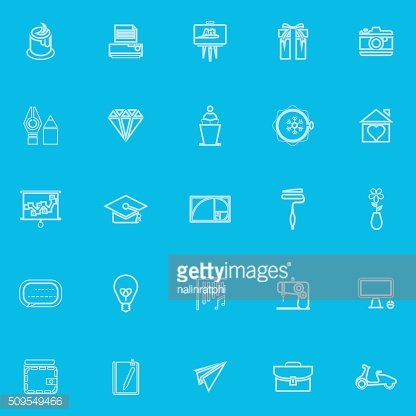 Art and creation blue line icons