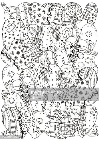 Pattern for coloring book with artistically hand drawn hearts