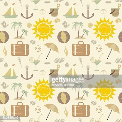 Retro summer and sea related seamless pattern