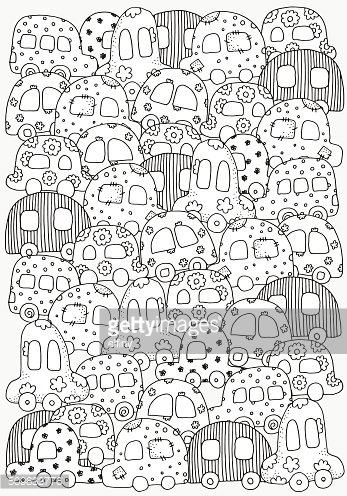 Pattern For Coloring Book With Doodle Style Kids Cars Clipart Image