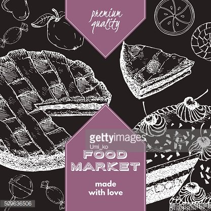 Food market label template with pie, cake, candy