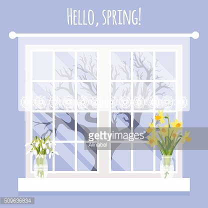 Vector illustration with window and flowers in flat style
