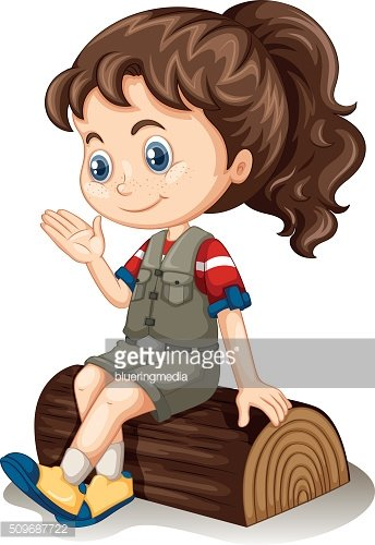 Little girl sitting on log
