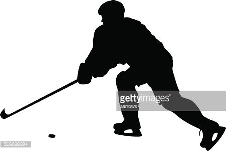 silhouette of hockey player. Isolated on white. Vector