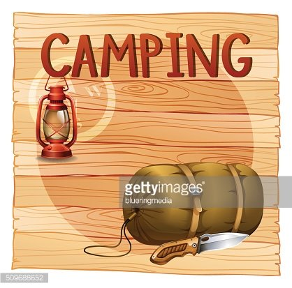 Camping gears with lantern and sleeping bag