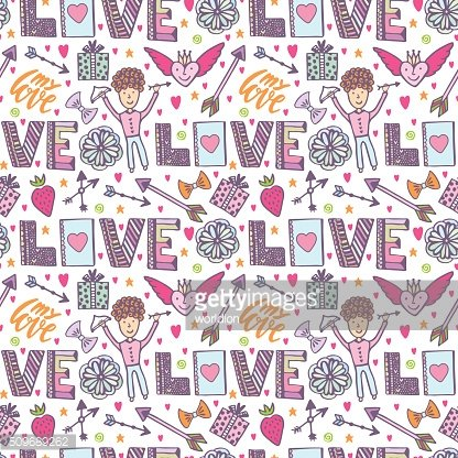 Valentines day romantic background. Vector creative pattern with cupid angel