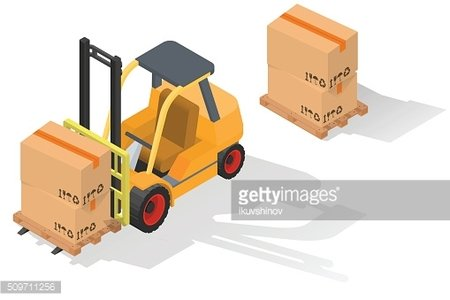 Isometric forklift truck with box