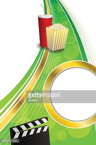 Background green red drink popcorn movie clapper board gold frame