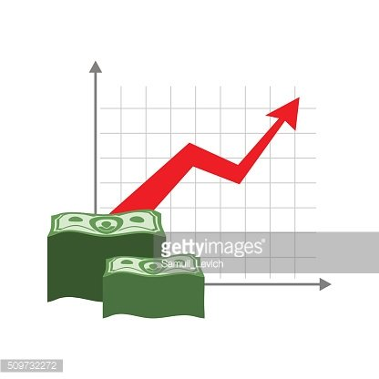 Graph growth money. Red up arrow. Increase in cash profit