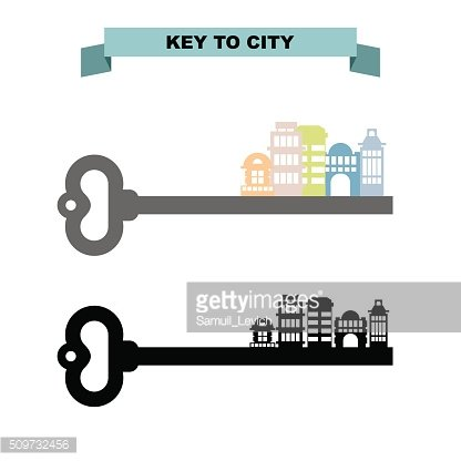 Key to sity. Vintage key and city buildings. Office skyscrapers