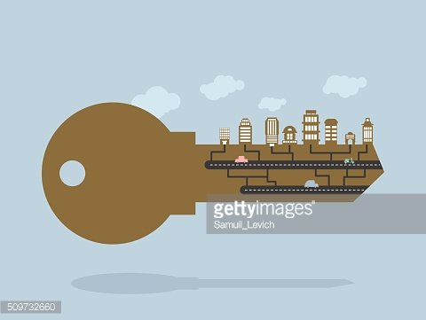 Key And buildings. key to city. Door lock key Office