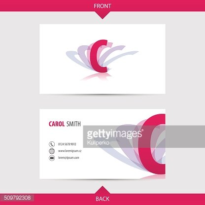 Business card template with alphabet letter C