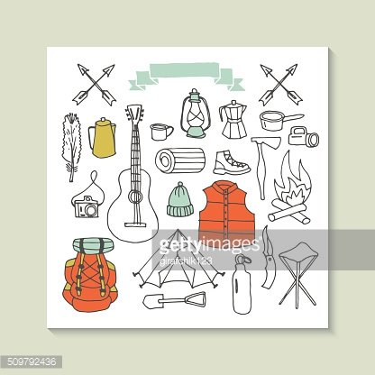 Hand drawing camping and hiking vector icons