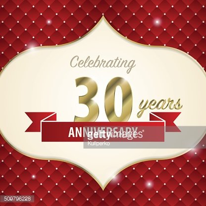 Celebrating 30 years anniversary. golden style. Vector
