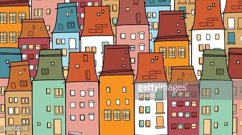 Colorful Houses Old Vintage Town Thin Line Village