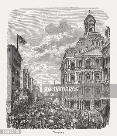 Broadway, New York, wood engraving, published in 1880