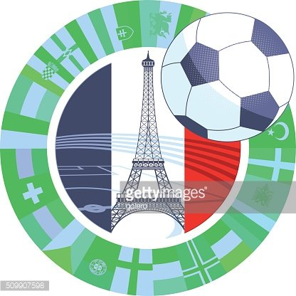 french vector soccer icon with eiffel tower and international flags
