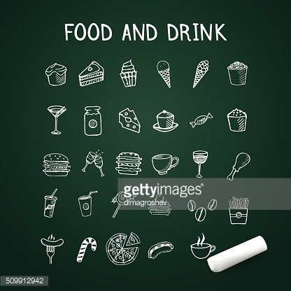 Food and drink doodles Icons on chalkboard with chalk