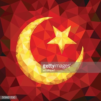 Star and Crescent Emblem of Islam in Polygons