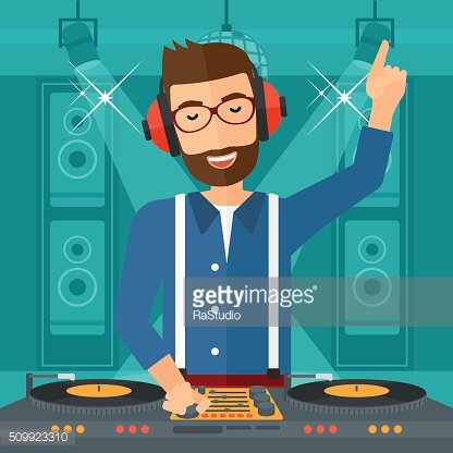 Smiling DJ with console