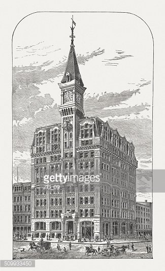 New York Tribune building in New York City, published 1880