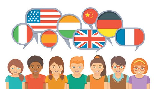 International kids communication in different languages Clipart Image