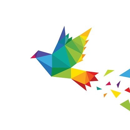 Dove abstract triangle isolated on a white backgrounds, vector illustration