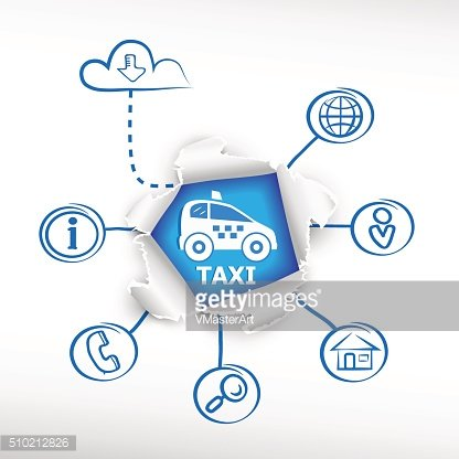 Taxi car sign icon and sketch diagrams. Doodle vector illustrati