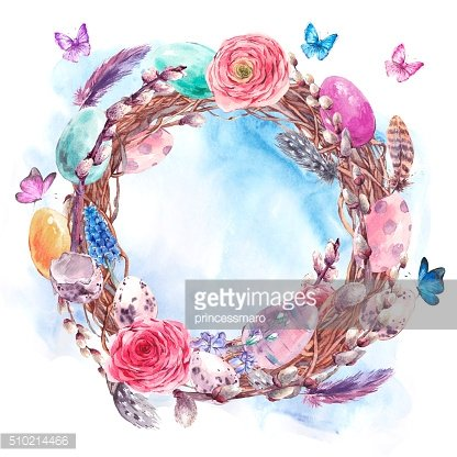Watercolor Happy Easter wreath, spring bouquet