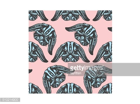Seamless pattern rabbit coloring outlines in boho style. Ethnic hare