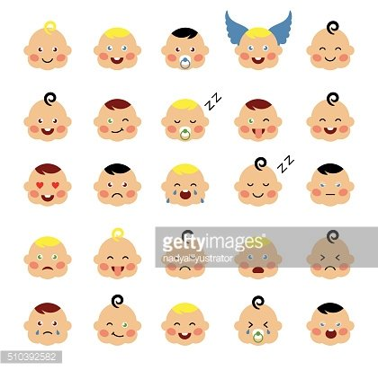 Set of cute baby emoticons
