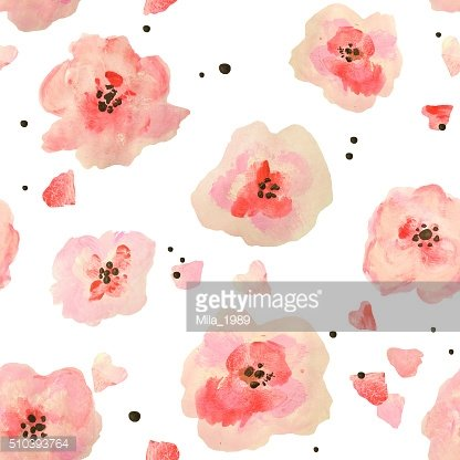 Seamless pattern with beautiful watercolor flowers on white background
