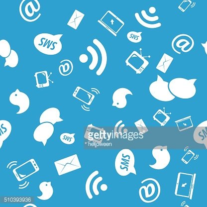 Seamless pattern of social icons, blue color