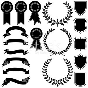 vector set of banners , wreath and emblem