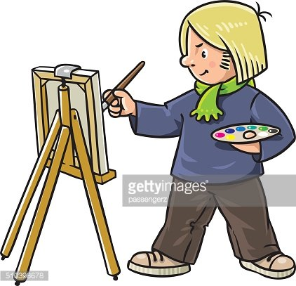 Funny artist or painter.