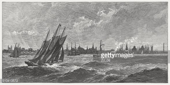 Erie and Lake Erie, wood engraving, published in 1880