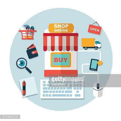 set of online shopping internet flat vector infographic elements