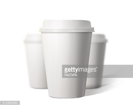 Vector Coffee Cup Set Blur Depth of Field Effect Isolated