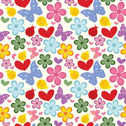 Colorful Spring Flowers And Butterflies Seamless Pattern Premium
