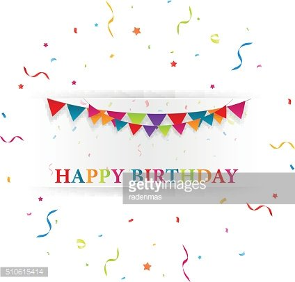 Happy birthday card with bunting flags