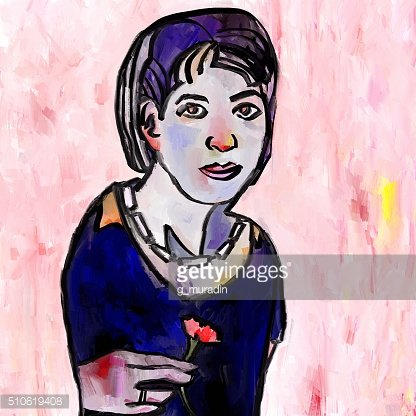 Abstract woman with a flower