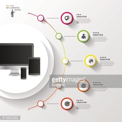Infographic design template. Colorful circle with icons. Vector illustration