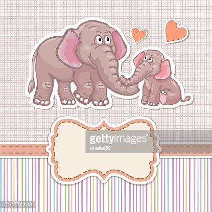 Baby shower invitation with elephants