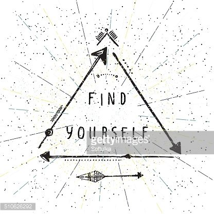 Find yourself, lettering, Native american poster, hipster, aztek