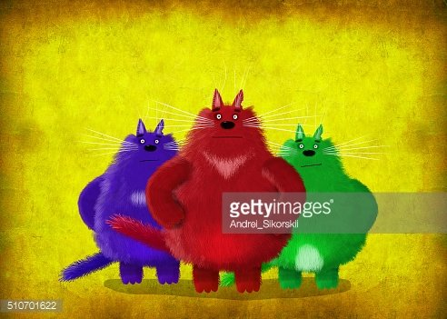 Three Brave Cats On Yellow Background
