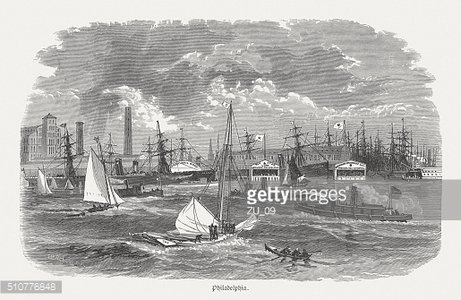 Delaware River, Philadelphia, wood engraving, published in 1880