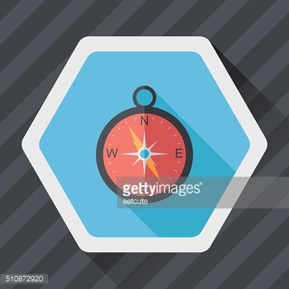 compass flat icon with long shadow,eps10