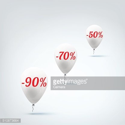Sale banner with white balloons