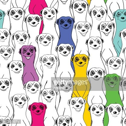 Seamless Pattern Of Smiling Meerkats.